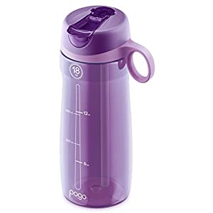 Pogo BPA-Free Plastic Water Bottle with Flip Straw, Purple, 18 oz Standard