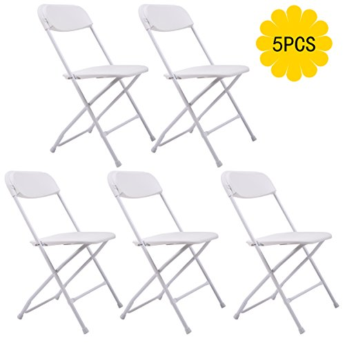 JAXPETY 5 PACK Commercial Plastic Folding Chairs Stackable Wedding Party Event Chair WHITE by JAXPETY