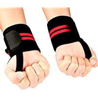 Bodybuilding Wrist Straps Wrist Support Wraps [Set of 2] Gym Weight Lifting Cross-fit Strength Training Suitable for Men and Women