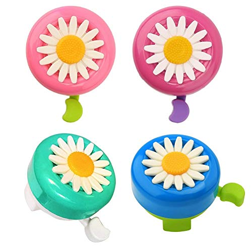 BaoBae 4PCS Kids Toddlers Daisy Flower Bicycle Bells Loud Ring Horn Bike Accessories Assorted Color
