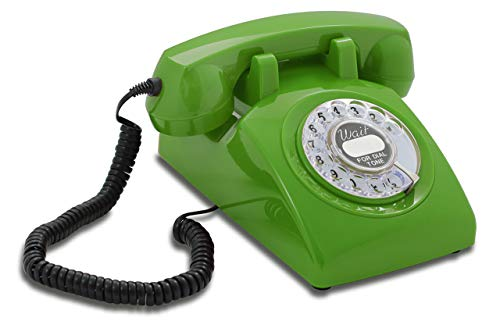 Opis 60s Cable with Classic United States Rotary Dial Inlay: Designer Retro Phone/Rotary Dial Telephone/Retro Style Phone/Vintage Telephone/Classic Desk Phone with Rotary Dialler (Green)
