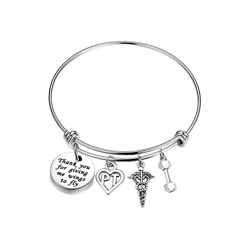 FOTAP Physical Therapist Bangle Bracelet Medical Caduceus Charm Bangle PT Thank You Gift Physical Therapy Graduation Gift (PT Bangle)