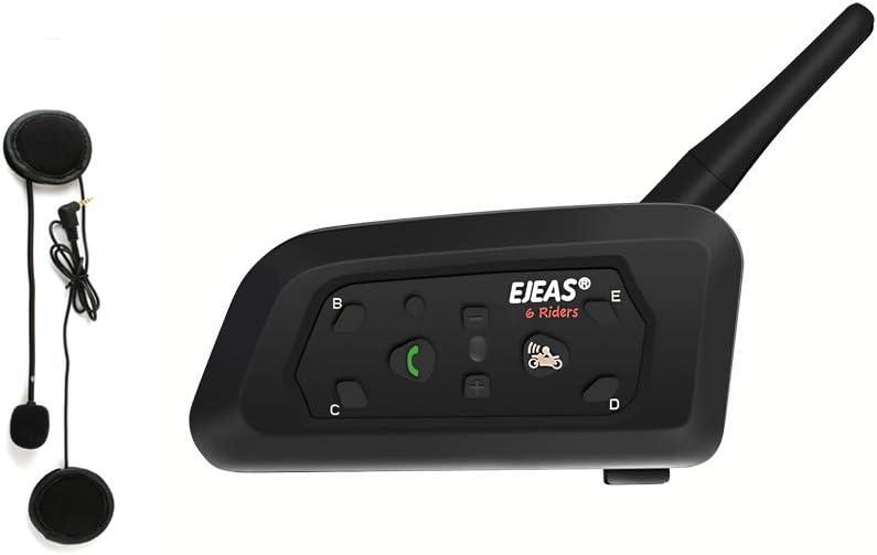 Ejeas V6 Pro 1200M Auriculares Intercomunicador Moto Inalambrico Bluetooth para Motocicletas, Impermeabilidad Intercomunicador Casco Moto, Comunicador Moto hasta 6 Jinetes(1 Paquete)