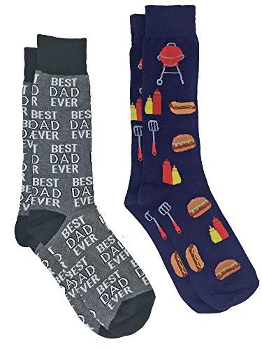 360 Threads Men's Novelty Socks - 2 Pair Set (Best Dad Ever & BBQ Grill)
