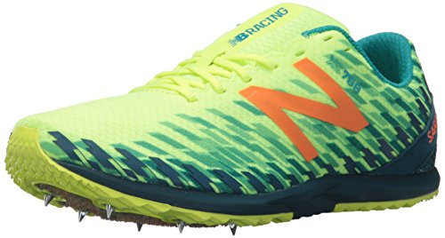 New Balance Women's 700V5 Removable Spike Track-Shoes, Bleached Lime Glo/Moroccan Blue, 9...