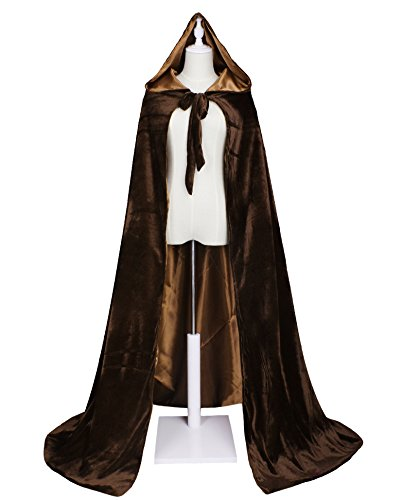 LuckyMjmy Velvet Renaissance Medieval Cloak Cape lined with Satin (Large, Brown)