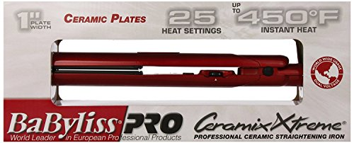 Pro Ceramix Xtreme Hair Straightening Iron, Red, 1 Inch Ceramic Plates 450 Degree