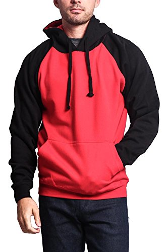 G-Style USA Heavyweight Contrast Raglan Sleeve Pullover Hoodie MH13112 - RED/Black - Small - AA8A