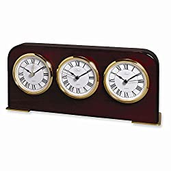 Mahogany Finish Three Time Zone Clock