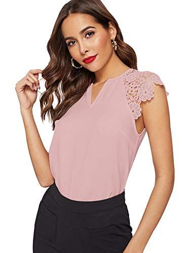 WDIRARA Women's Elegant V Neck Summer Lace Cap Sleeve Top Blouse Pink S