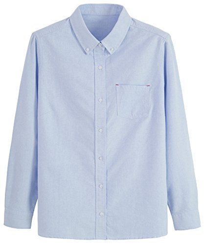 Button Down Collar Oxford Shirt (Seeksmile Women's Cotton Long Sleeve Button Down Shirt (XX-Large, Blue))