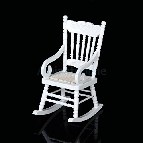 Shallen Miniature Wooden Rocking Chair Furniture Model for 1/12 Scale Dollhouse White (Cheap Wooden Chairs Rocking)