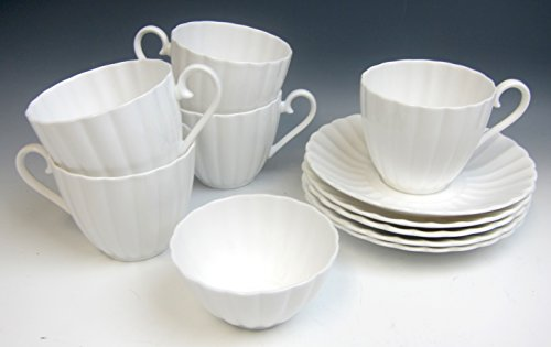 Lot of 12 Susie Cooper China WHITE FLUTE Cup and Saucer Sets EX