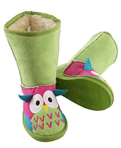 Owl Boot Cute Animal Character Slippers for Kids by LazyOne | Boys and Girls Creature Slipper Boots (X-Small)