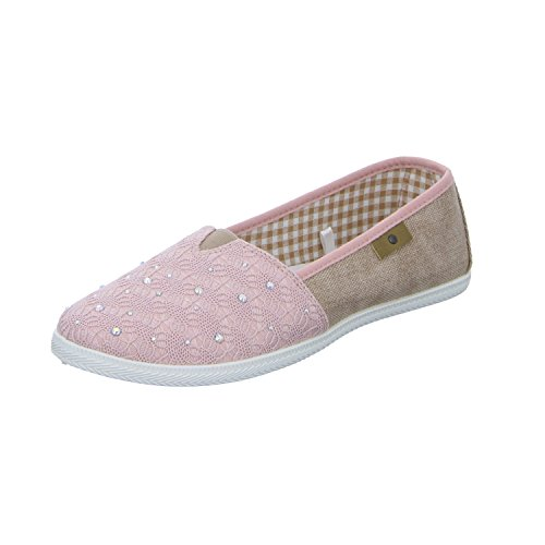Alyssa 81.835.5.9.so.3 Damen Leinen Slipper/Kletthalbschuh Rot (Rose)