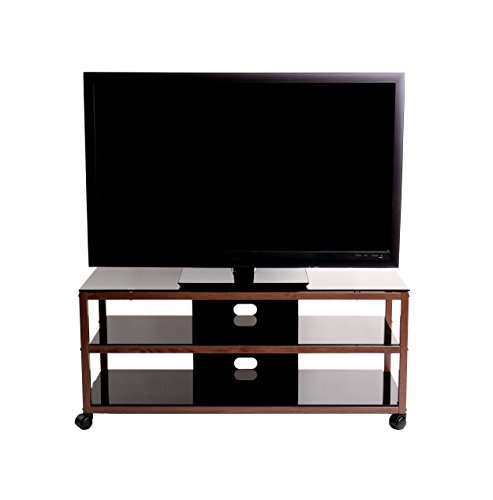 TransDeco TV Stand TD585DB with Casters & 2 AV Shelves for Flat Panel TVs, 50'' X 18'' X 21.9'', Dark Oak/Black by TransDeco (Image #3)