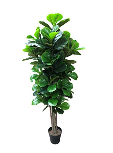 AMERIQUE Gorgeous & Dense 5' Fiddle Leaf Fig Tree Artificial Silk Plant with UV Protection, with Nursery Plastic Pot, Feel Real Technology, Super Quality, - Trees Silk Fig