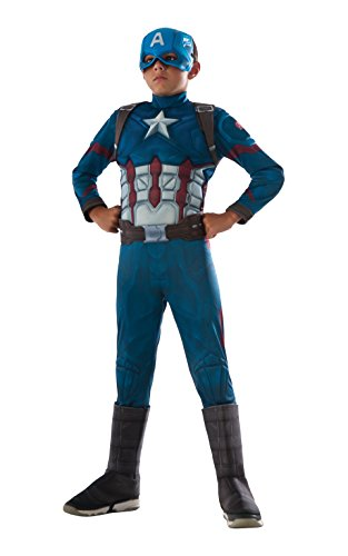 [Rubie's Costume Captain America: Civil War Deluxe Captain America Costume, Small] (Halloween Costumes For The Family)