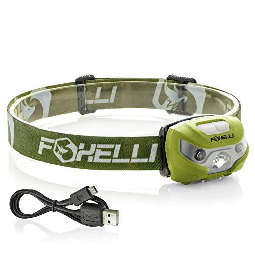 Foxelli USB Rechargeable Headlamp Flashlight - 160 Lumen, up to 30 Hours of Constant Light on a Single Charge, Super Bright White Led + Red Light, Compact, Easy to Use, (Best Lamp Rechargeable)