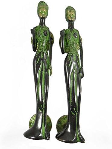 グリーンレディースデザインStatue Collectibles彫刻真鍮Showpieceテーブル装飾