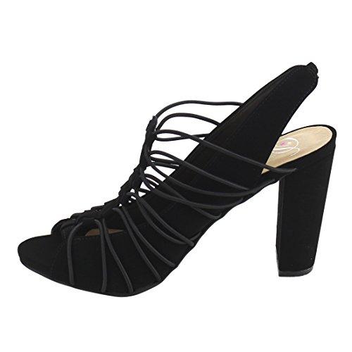 Delicious Womens Branch Elastic Bound Peep Toe Block Heel Sandal w/Elastic Back Strap Black aO0yA