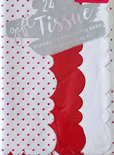 Red and White Polka Dots with Scalloped Edge Assortment Pack of Gift Wrapping Tissue Paper - Birthday, Valentine's Day, Christmas Holiday, Crafting ()