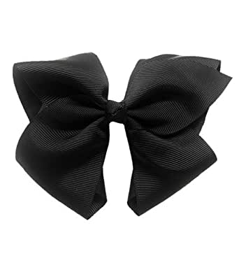 Black Grosgrain Bow Clip - Extra Large Bows with Alligator Clips by CoverYourHair
