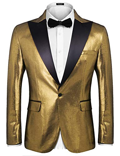 COOFANDY Mens Fashion Suit Jacket Blazer Weddings Prom Party Dinner Tuxedo,Golden,Medium