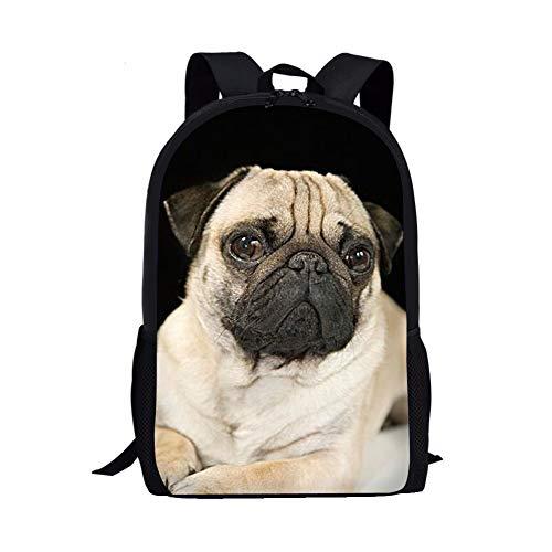 Allcute Kids School Backpack Large Durable Elementary Preschool Book Bags for Boys Girls Pug Print