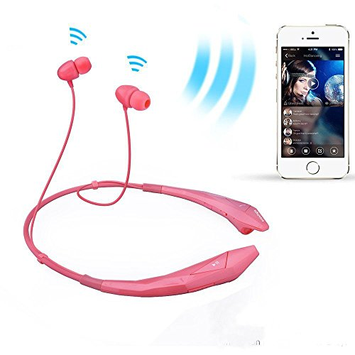 Bluetooth Headphones Headset Newest Design Wireless Music Earphones Stereo Earbuds Sports/Running Magnetic Neckband Style Shine Like Diamond Surface Cellphone, Pink -