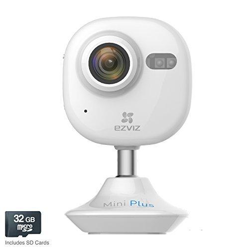 EZVIZ Mini Plus HD 1080p Wi-Fi Video Security Camera, 32GB MicroSD, Works with Alexa – White