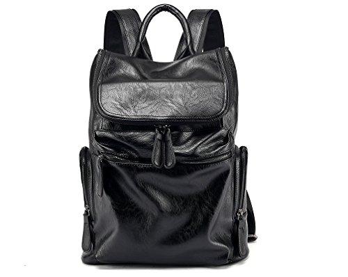 Morenjoy life Uomo vera pelle Handmade 16 pollici Laptop Backpack zaino Multi tasche viaggi sport borsa Casual zainetto (nero)