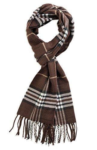 Veronz Soft Classic Cashmere Feel Winter Scarf, Brown Plaid