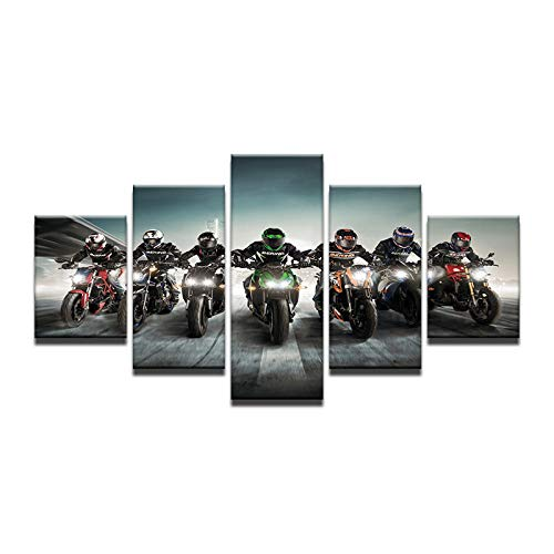 Fbhfbh 5 Pieces Wall Art Pictures Canvas Art Motorcycle Motorsport Oil Painting Modular Anime Prints Posters Home Decoration No Framed -4x6/8/10inch,Without Frame -