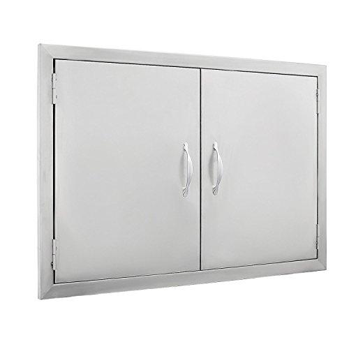 BestEquip Double BBQ Island 304 Stainless Door Double Access BBQ Door 30.5x21inch Double Door Flush Mount