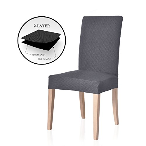 TOYABR Knitted Stretchy Dining Chair Covers Jacquard Spandex Chair Protect Slipcovers For Banquet Wedding Party (2, Grey) (Chair Slipcover Grey Wingback)