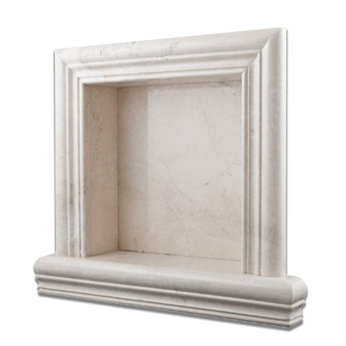 Antique White Pearl Marble Hand-Made Polished Shampoo Niche / Shelf - SMALL