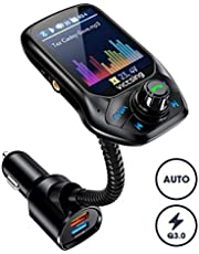 """VicTsing FM Transmitter Car, (Auto Frequency Tuning) 1.8"""" Color Screen Bluetooth Car Transmitter with 50% Higher Effeciency, 3 USB Ports with QC 3.0, 5 EQ Modes, Hands-Free Calling, U Disk/TF Card/Aux"""