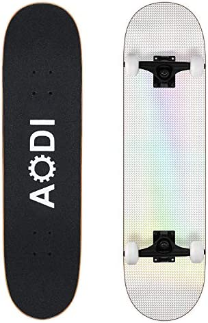 AODI 31Inch Pro Skateboards, Complete Skateboard Canadian 7 Layer Maple Wood Kick Cruiser Skate Board for Teens Adults Beginners Girls Boys Kids