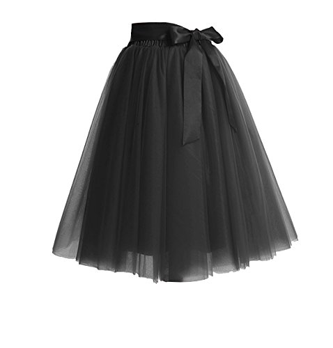 CoutureBridal Women's Princess Party Tulle Tutu Midi Skirt With Bow Black ()