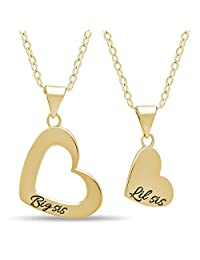 """925 Sterling Silver Sister Heart Necklace Set for Big Sis Lil Sis - Engraved 14K Gold or Silver Plated Heart Necklaces for Two Sisters Pendants Double Heart Necklaces for Sisters Chain 16"""" + 2"""" Ext w Clasp"""