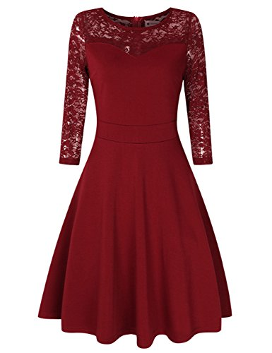 (Women Sweetheart Bridesmaid Dress Fall Mother of the Bride Dress Red L Wine)