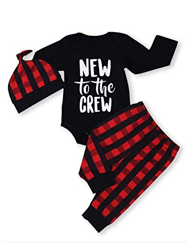 Newborn Baby Boy Girl Clothes Little Man Long Sleeve Romper,Plaid Pants + Cute Hat 3pcs Outfit Set (B-Black,3-6 Months) (Best Gender Neutral Christmas Gifts)