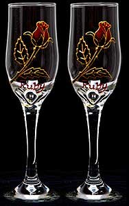 Ruby Anniversary Wedding Rose (Celtic Glass Designs Set of 2 Hand Painted Champagne Flutes in a Ruby Rose Design.)