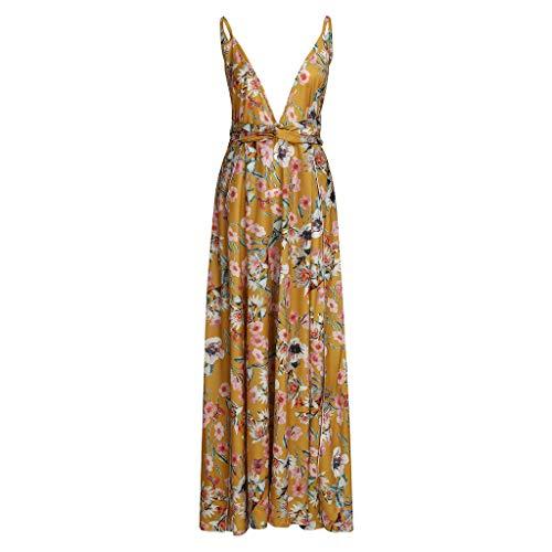 Huifa Women Summer Boho Strappy Long Dresses Deep V Neck Party Beach Gown (Yellow,XL)