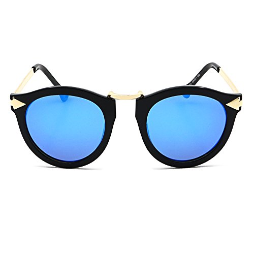 a0f20b603e6 Amazon.com  Ronsou Womens Fashion Designer Polarized Sunglasses 100% UV400  Mirrored Protection Sun Glasses black frame blue lens  Clothing