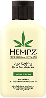 Hempz Age Defying Herbal Body Moisturizer, Off White, Vanilla/Musk, 2.25 Fluid Ounce