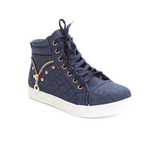 Soho Schoenen Dames Casual Hoge Sneakers Met Hoge Taille En Gewatteerde Mode Blauw / Wit