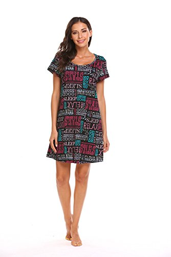 Sweetnight Women Short Sleeve Nightgowns Cute Printed Cotton Sleepwear Nightshirts (M, Black)