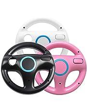 Jadebones 3 x pcs Black White Pink Steering Mario Kart Racing Wheel for Wii and Wii U Remote